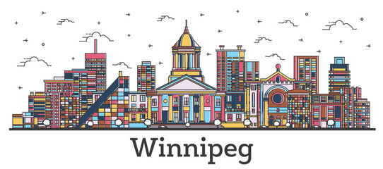 Outline Winnipeg Canada City Skyline with Color Buildings Isolated on White.