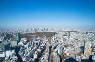 東京風景 渋谷からワイドで望む 新宿 代々木 原宿 青山方面 紅葉 2019年12月