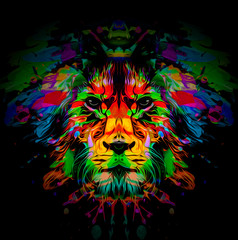 Colorful lion face in abstract style on black background