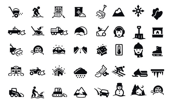 Snow Removal Icons vector design black and white