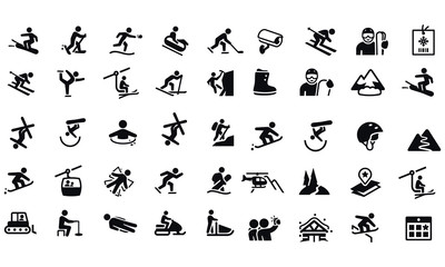 Snow Skiing Icons vector design black and white  Wall mural