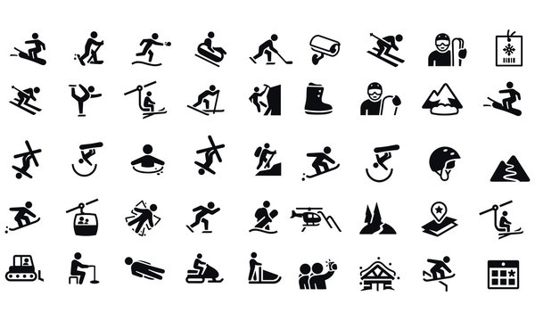 Snow Skiing Icons vector design black and white