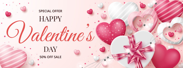 Valentine's day sale banner template with 3D hearts, shining lights and gift box. Vector illustration Fotomurales
