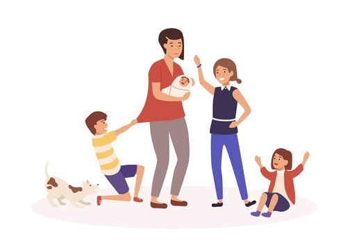 Mother with many children flat vector illustration. Tired single mom and naughty kids cartoon characters. Parenthood routine, motherhood burnout, babysitting concept. Exhausted housewife.