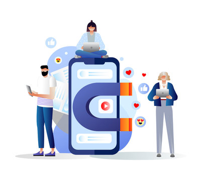 Social media concept with characters. Vector illustration of a big magnet attracts likes, followers. Influencer, blogger creating online content. Media marketing, SEO, content manager job