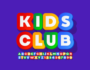 Vector colorful Emblem Kids.  Cute bright Font. Creative Alphabet Letters and Numbers