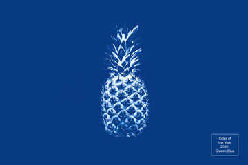 Pineapple in monochrome on a blue background. Concept abstraction, surrealism, color of the year 2020, food