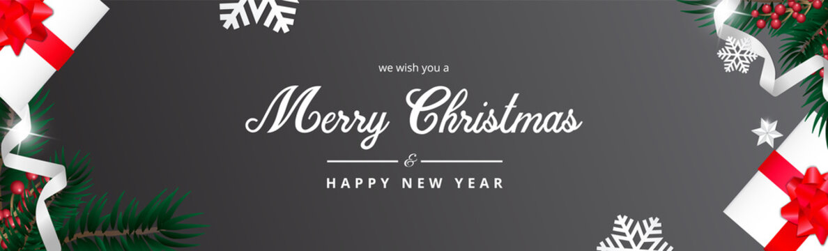 Dark Merry Christmas Banner, we wish you a merry christmas greeting, Realistic christmas background. Illustration.