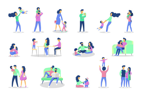 Set of family leisure with various situations. Girl and boy having fun