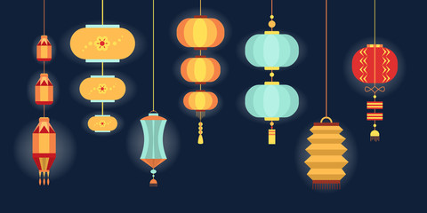 Set of various Chinese lanterns of diffrent collors and shapes.