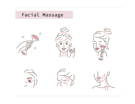 Beauty Girl Take Care of her Face and Use Facial Roller. Adorable Woman Making Skincare Procedures. Skin Care Facial Massage and Relaxation Concept. Flat Vector Illustration and Icons set.