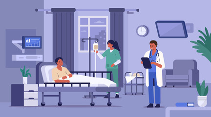 Hospitalized Patient Lying in Hospital Bed. Medical Staff Visiting him. Nurse Setting Up Dropper. Doctor Checking Medical Chart. Hospital Room with Modern Equipment. Flat Cartoon Vector Illustration.