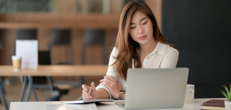 Young professional businesswoman working on her project with laptop