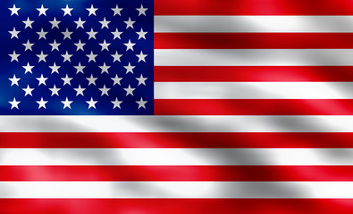 American flag of United States of America- silky texture, wavy flag, illustrated