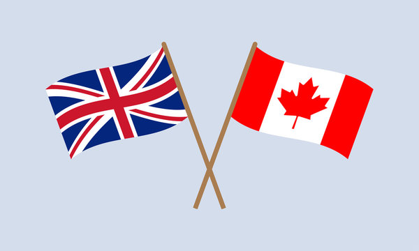 UK and Canada crossed flags on stick. British and Canadian national symbol. Vector illustration.