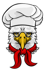 A friendly eagle chef mascot cartoon character