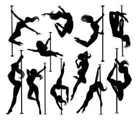 A set of women pole dancing exercising for fitness in silhouette