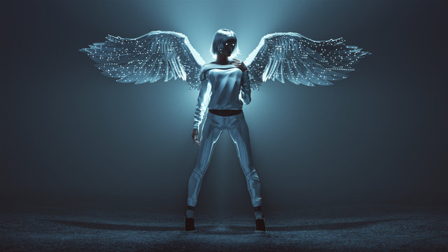Modern Supernatural Being Angel in Casual Pants and Top in a Foggy Void with Wings Backlit 3d Illustration 3d render