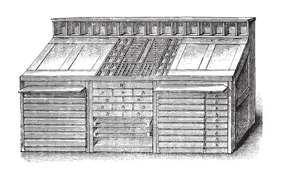 Old type case or print box / vintage illustration from Brockhaus Konversations-Lexikon 1908