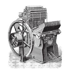 Old printing press / vintage illustration from Brockhaus Konversations-Lexikon 1908