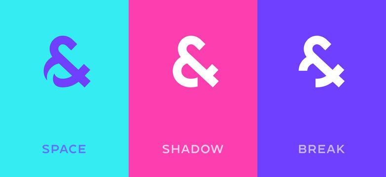 Set of symbol & and ampersand minimal logo icon design template elements