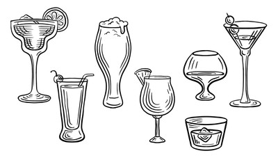 cocktail drink glasses hand drawn engraved sketch drawing vector