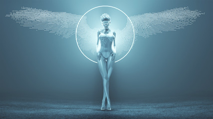 Silver Supernatural Being Angel with Hair Up in a White Swimsuit with Wings Formed out of Small Spheres in a Foggy Void with Glowing White Eyes 3d Illustration 3d render Wall mural
