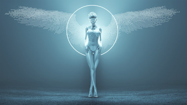 Silver Supernatural Being Angel with Hair Up in a White Swimsuit with Wings Formed out of Small Spheres in a Foggy Void with Glowing White Eyes 3d Illustration 3d render