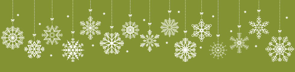 Wall Mural - hanging snow stars banner for christmas greetings time