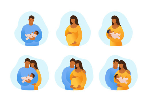 Black African American husband and wife, pregnancy and childbirth. Set of templates for design, antenatal care, postcards. Flat vector illustration isolated on white background.