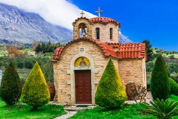 Traditional orthodox church in mountain village. Crete island. Greece