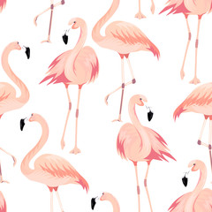 Tuinposter Flamingo Vector seamless pattern with exotic flamingo. Summer decoration print for wrapping, wallpaper, fabric