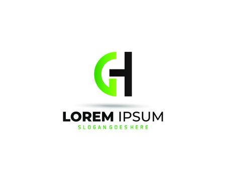 gh, G H letter logo design template