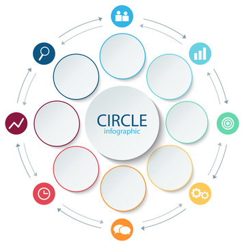 Abstract round infographics 8 step. Business template presentation circular lines and color circle with icon. Color paper diagram. Vector illustration.