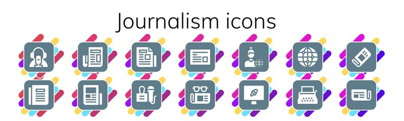 Modern Simple Set of journalism Vector filled Icons