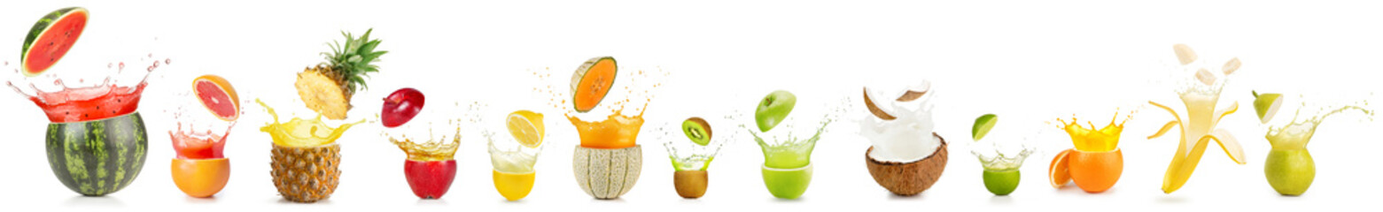 Wall Mural - collection of splashing cut fruit isolated on white background