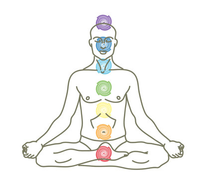 A man is sitting in a lotus position. Yogi. Silhouette on a white background. Vector illustration.