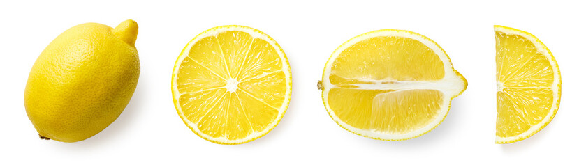 Fresh whole, half and sliced lemon