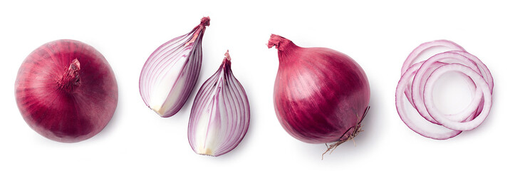 Fotorolgordijn Verse groenten Fresh whole and sliced red onion