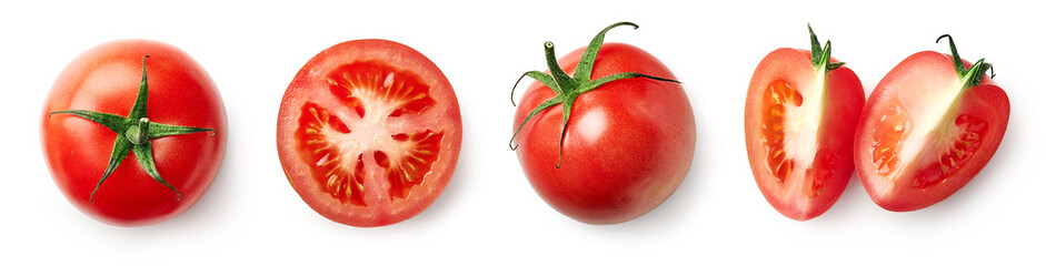 Fresh whole, half and sliced red tomato
