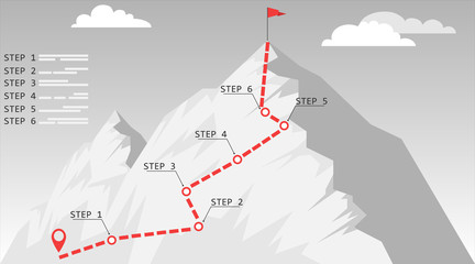 Climbing to the top. Map of the ascent to the top with a route and labels. Vector illustration.