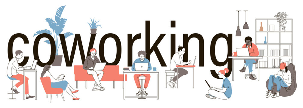 Coworking people colored isolated icons set with creative freelancers meeting together in coworking center.