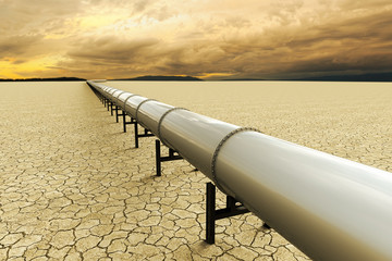 3D rendering of a pipeline over a dry land on the desert