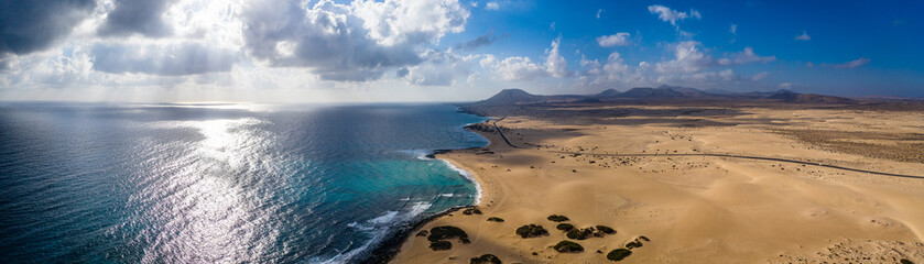 Stores photo Iles Canaries Fuerteventura, Corralejo sand dunes nature park. Beautiful Aerial Shot. Canary Islands, Spain