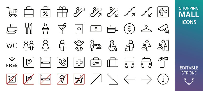Shopping Mall icons set. Set of toilet signs, invalid wc, mother and baby room, diaper change, atm, information, no smoking, no parking, pets, ice cream, no camera photo, currency exchange icon