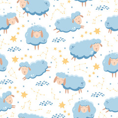 Seamless pattern with sleeping sheep flying across the starry sky. Vector illustration.