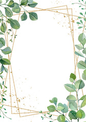 Watercolor hand painted greenery plants and nature eco design wedding card. Floral branches and leaves silver dollar eucalyptus and garden plants. Illustration for design, banner , greeting card.