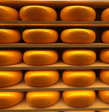 Window display of waxed German cheeses in Munich