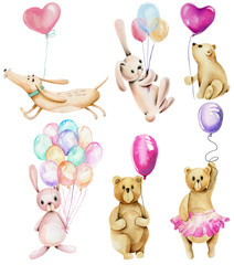 Collection of watercolor festive animals with air balloons (rabbits, bears and dogs), hand drawn isolated on a white background