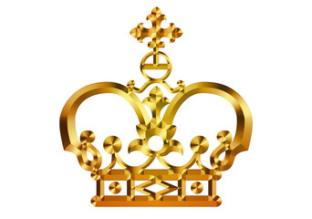 Metallic golden crown. vintage ornament